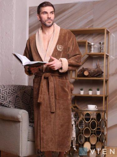 Мужской махровый халат Ludovic табак