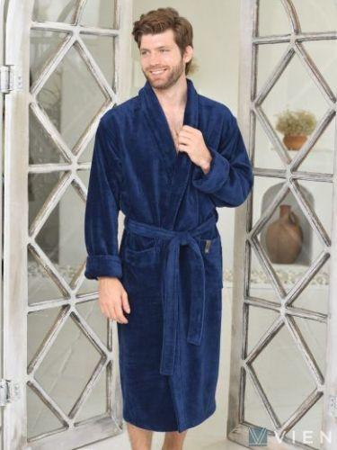 Мужской махровый халат Oliver denim