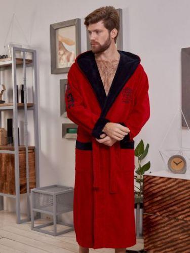 Мужской спортивный бамбуковый халат Athletic красный