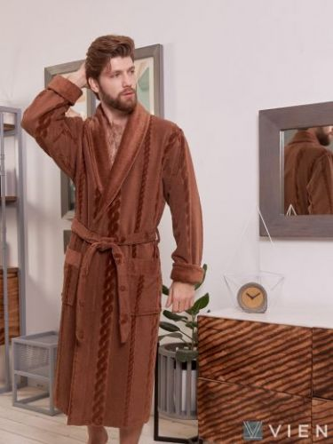 Мужской махровый халат Richard кофейный