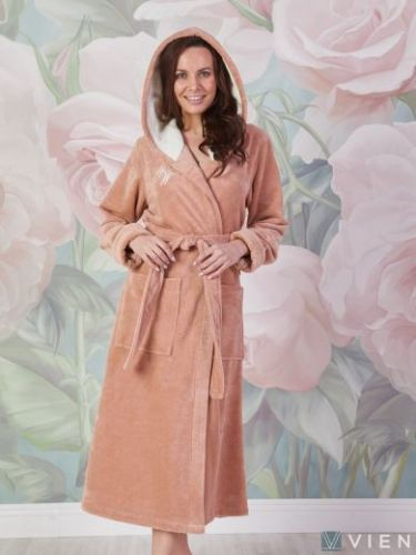 Женский махровый халат Violetta латте