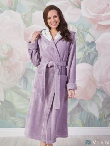 Женский махровый халат Violetta лаванда