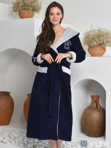 Женский махровый халат Athletic Lady navy