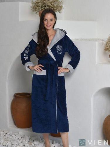 Женский махровый халат Athletic Lady denim