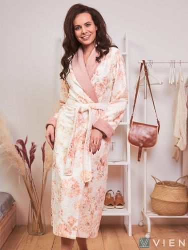 Женский махровый халат Madonna персиковый