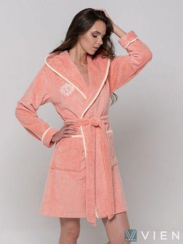 Короткий бамбуковый женский халат Juliette Light персик