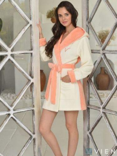 Женский бамбуковый халат Arianna Light персик