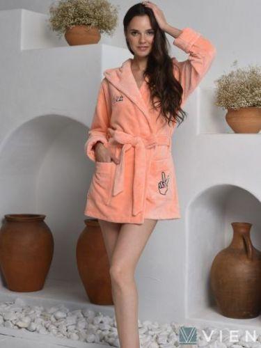Женский бамбуковый халат Mia персиковый