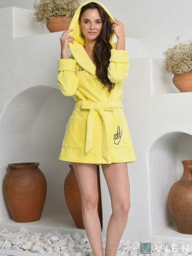 Женский бамбуковый халат Mia лимон