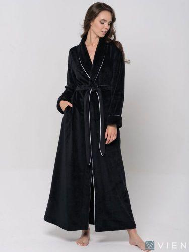 Женский махровый халат Elegance Line черный