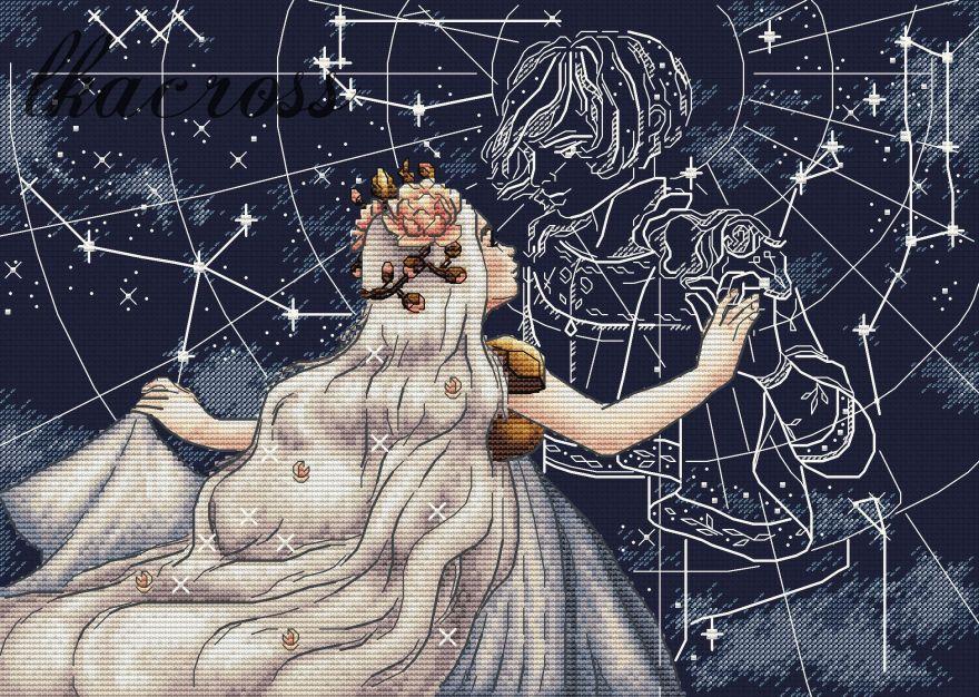 """""""Созвездие любви"""". Схема для вышивания крестиком."""