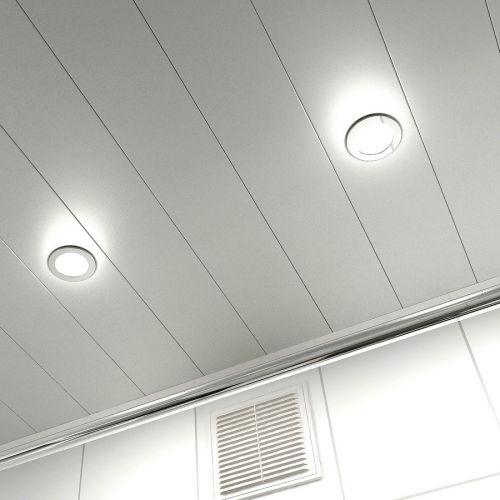 алюминиевый реечный потолок серебристый