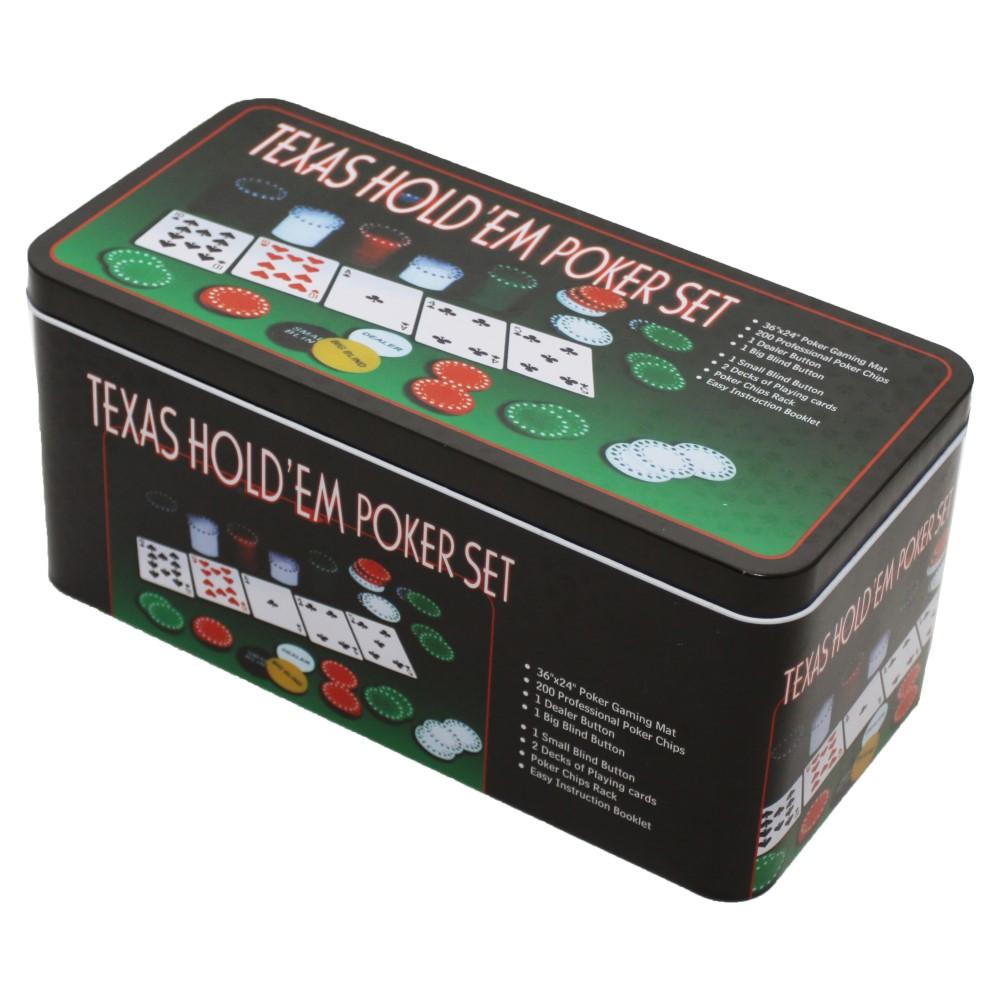 Набор для покера из 200 фишек в жестяной коробке + карты и сукно (дефекты коробки)