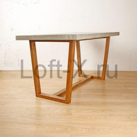 """Обеденный стол """"Трапеция"""" с бетонной столешницей на дубовом основании"""