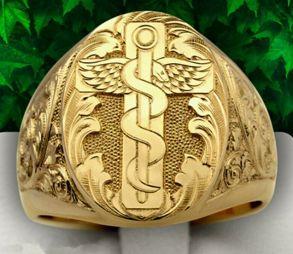 Позолоченная печатка с мечом и змеей (символ силы и борьбы) (арт. 880320)