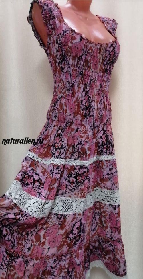 Сарафан в пол штапельный с льняным кружевом розы с вышивкой