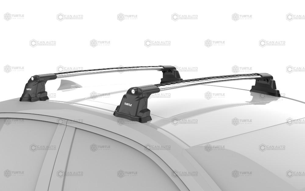 Багажник на крышу Mazda 3 (BL) 2009-2013, Turtle Air 3 Premium, аэродинамические дуги в штатные места (серебристый цвет)
