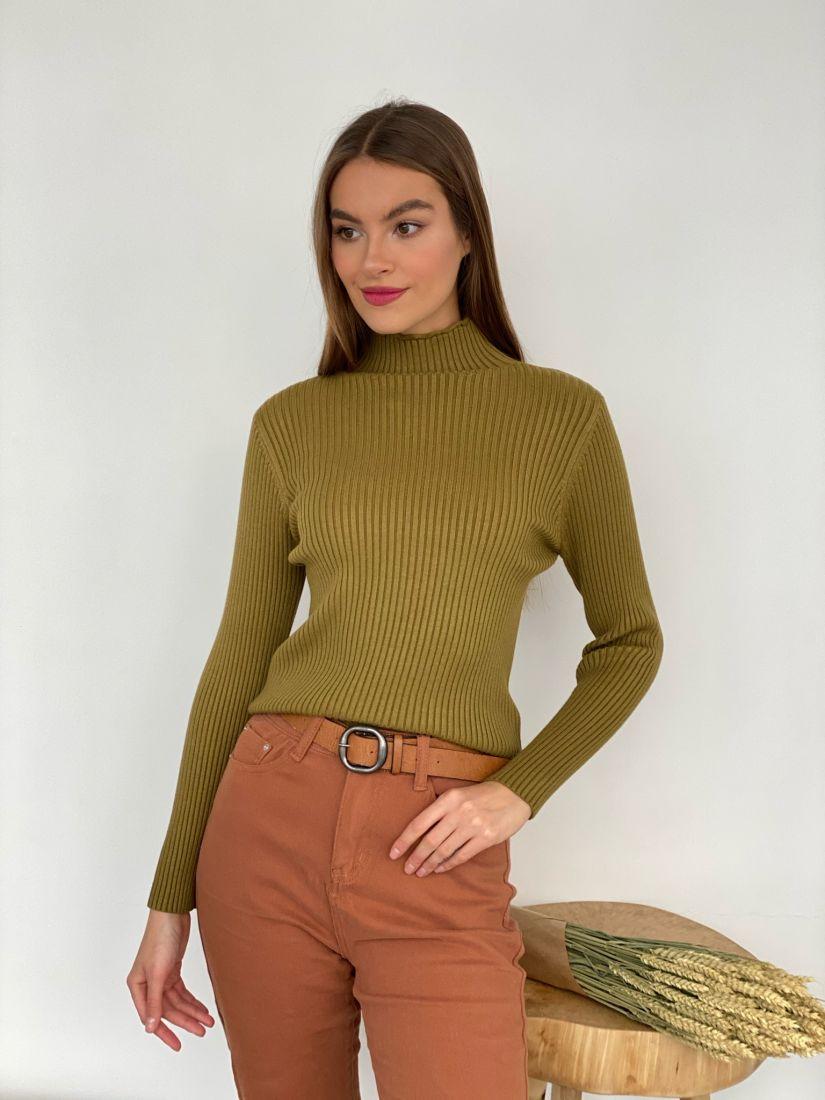 s3439 Тонкий свитер оливковый