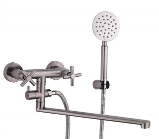 Смеситель для ванны с длинным изливом и душевым набором Fmark FS8424 сатин