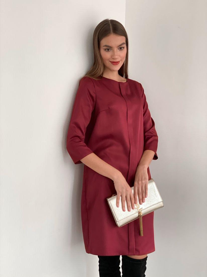 s3441 Платье с планкой бордовое