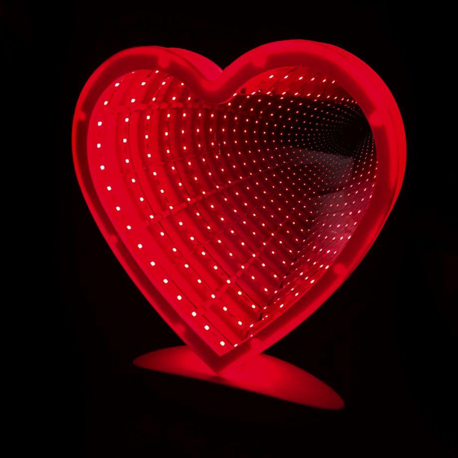 Зеркальный ночник с эффектом бесконечности Сердце
