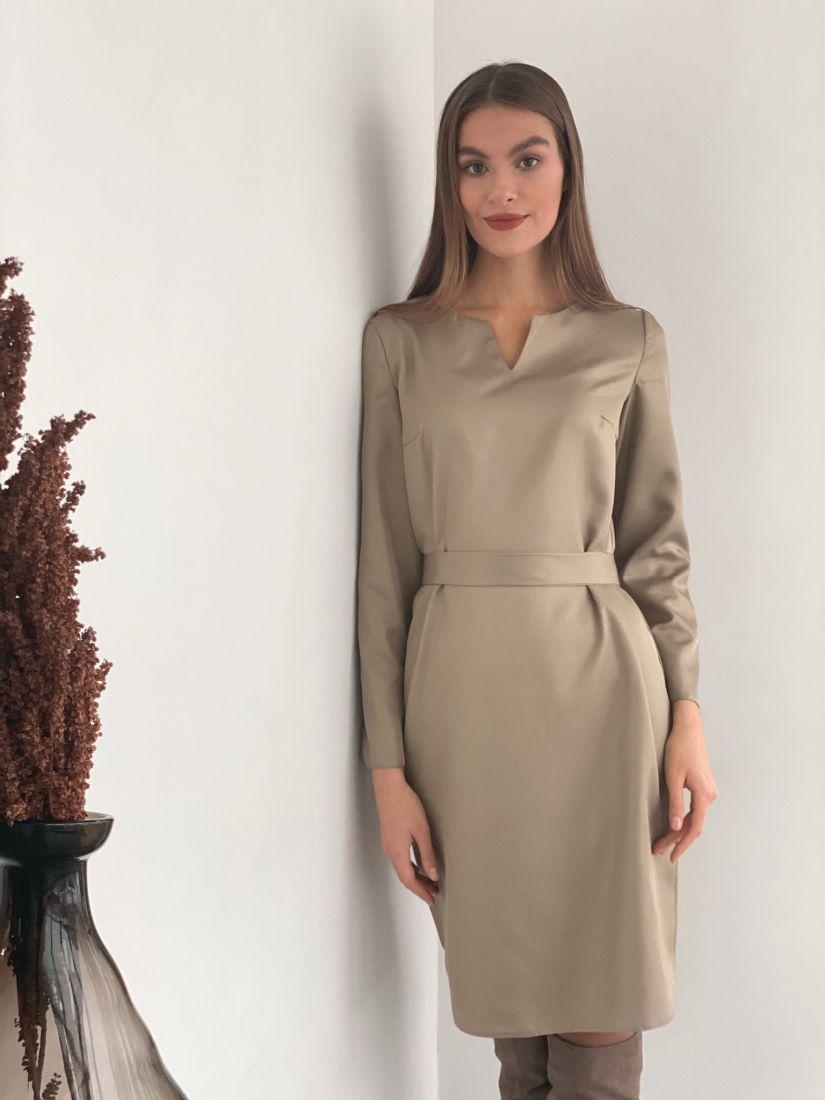 """s3445 Платье с фигурной горловиной в цвете """"холодный кофе"""""""