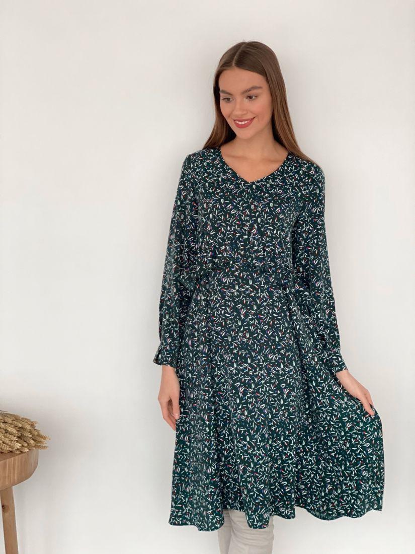 s3458 Платье с завышенной талией и рюшей зелёное