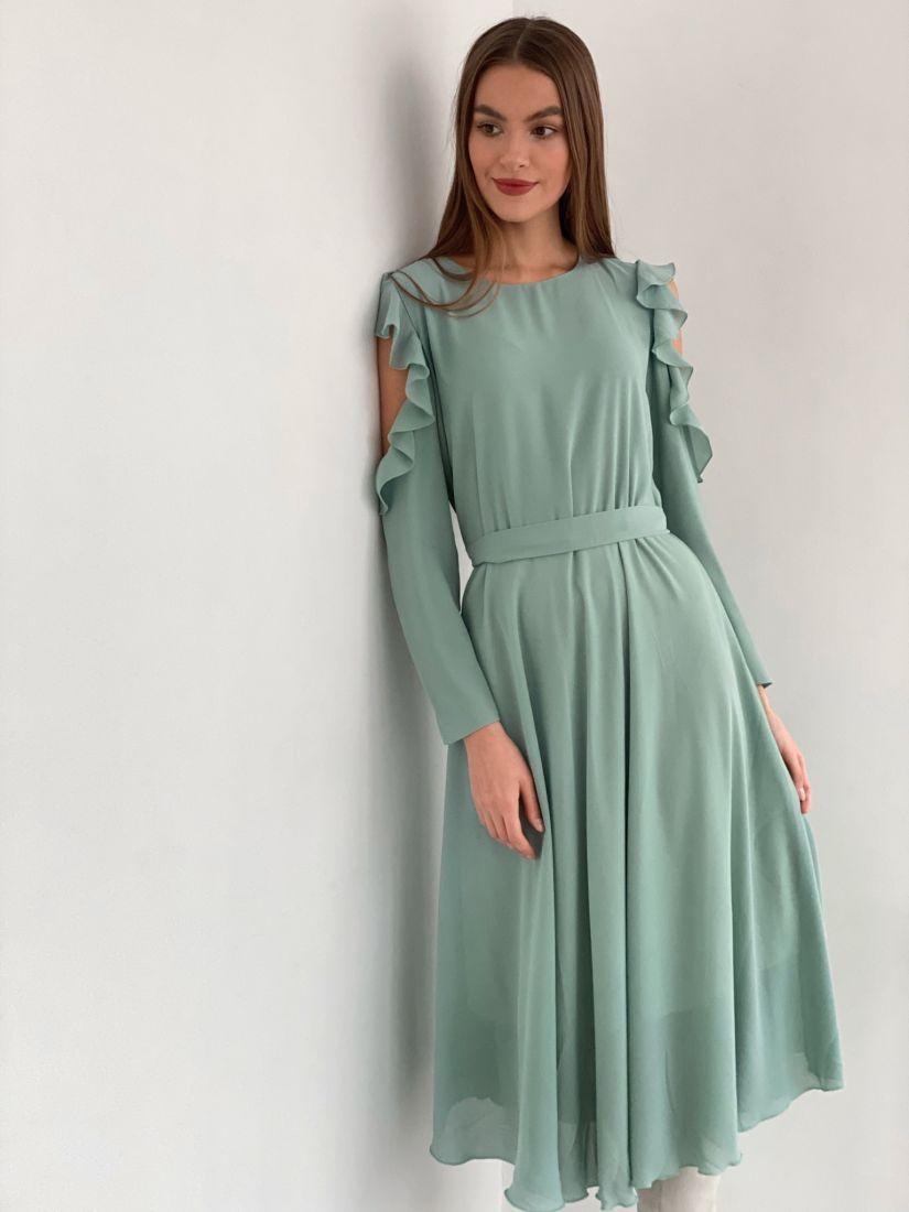 s3461 Платье из микрошифона с открытыми плечами фисташковое