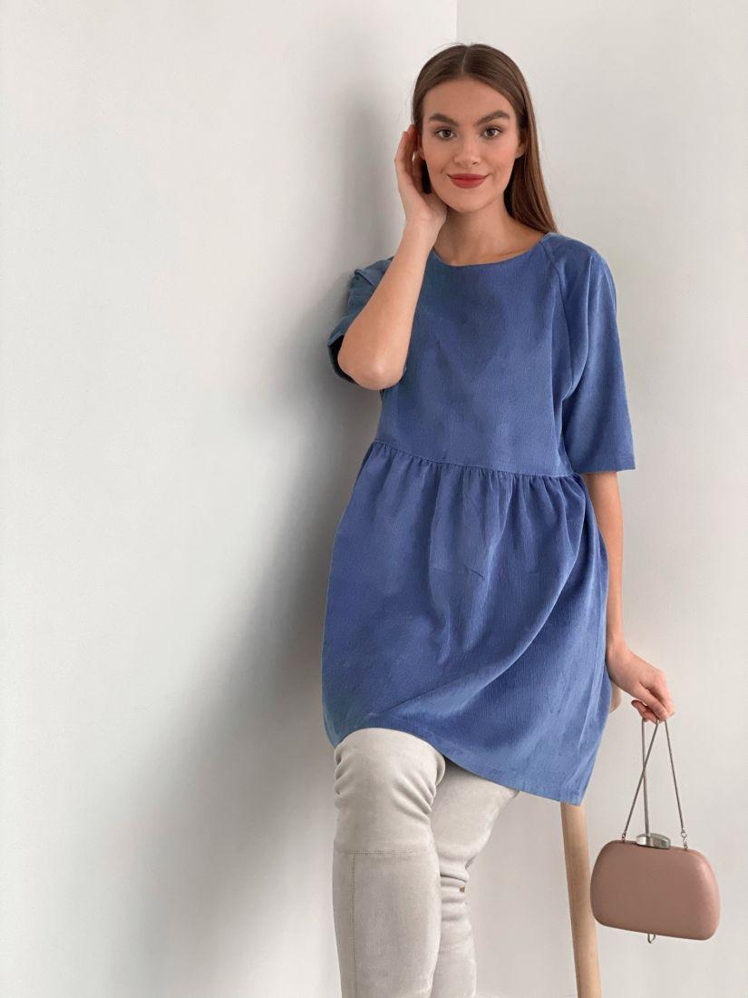 s3463 Платье вельветовое серо-голубое