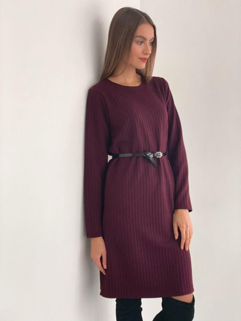 s3471 Платье-свитер в цвете burgundy