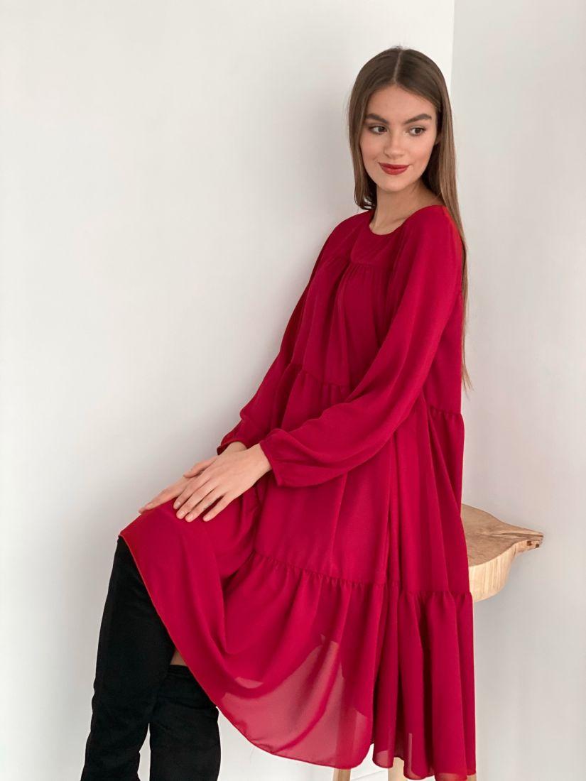 s3472 Платье из микрошифона на подкладе многоярусное ягодное