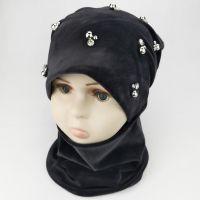вд1586-51 Комплект шапка снуд двойной велюр Бусины серый