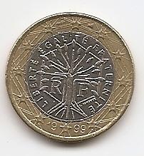1 евро Франция 1999 регулярная из обращения
