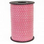 Лента (0,5 см*250 м) Белые точки, Розовый, 1 шт.