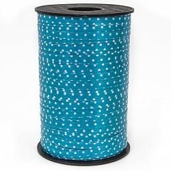 Лента (0,5 см*250 м) Белые точки, Голубой, 1 шт.