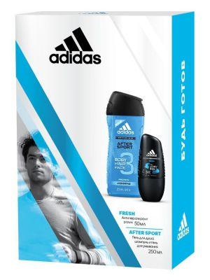 Adidas Fresh + After Sport Подарочный набор мужской Гель для душа 250 мл + Дезодорант-антиперспирант роликовый 50 мл