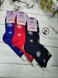Махровые женские носки С207 Снежинки