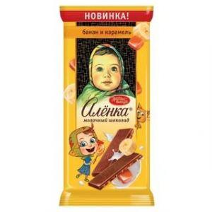 Шоколад АЛЕНКА 90г Банановые кусочки/карамель