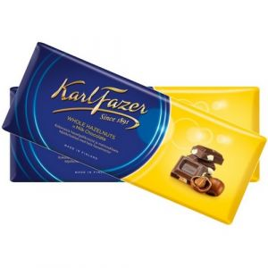 Шоколад KARL FAZER 200г Молочный с цельным фундуком