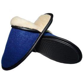 Тапочки женские из шерсти Дублированные [Синие]