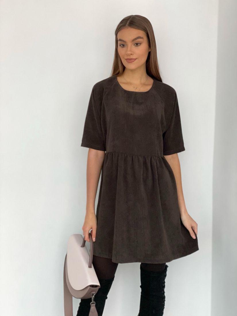 s3482 Платье вельветовое в цвете шоколад