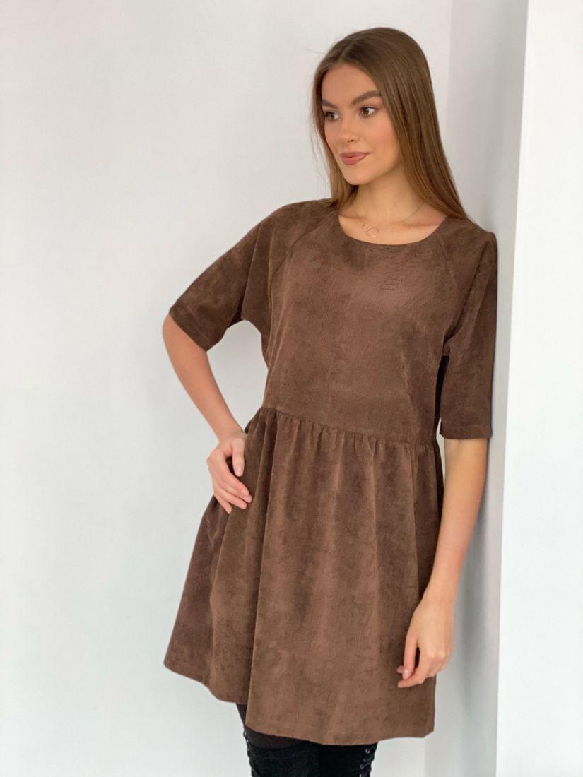 s3485 Платье вельветовое кофе