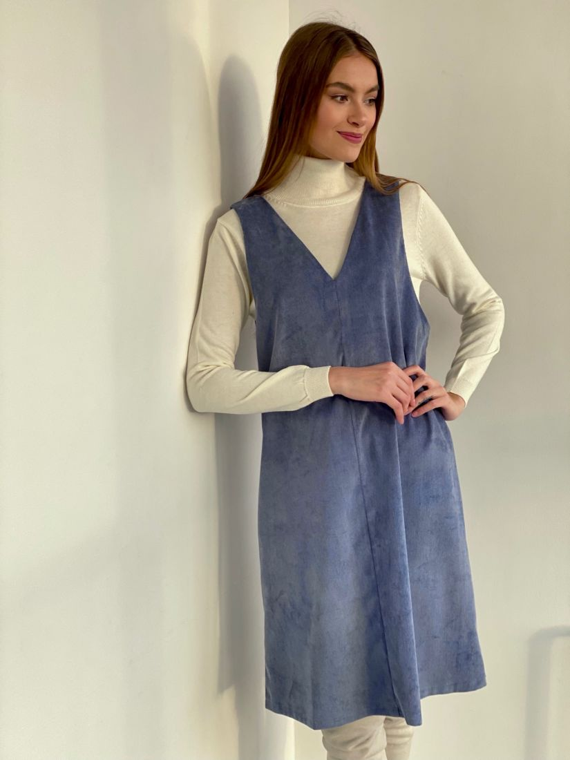 3502 Сарафан вельветовый серо-голубой