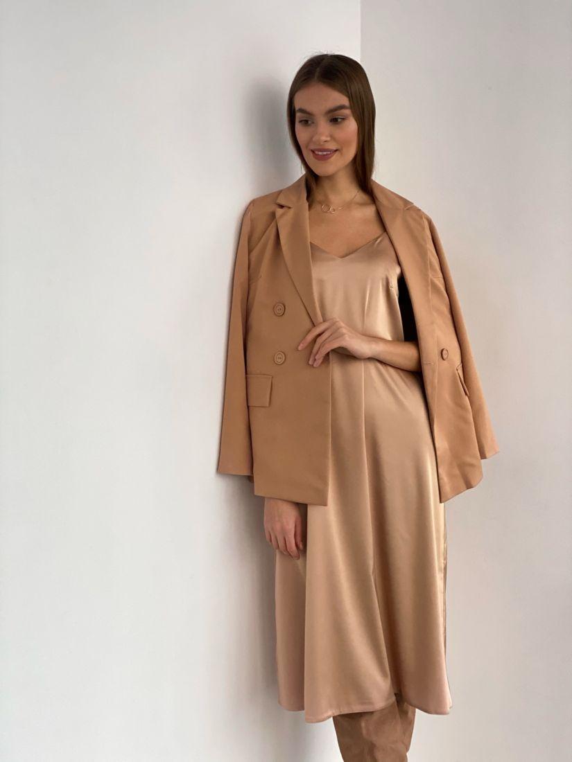 s3508 Платье-комбинация из шёлка в цвете gold sand