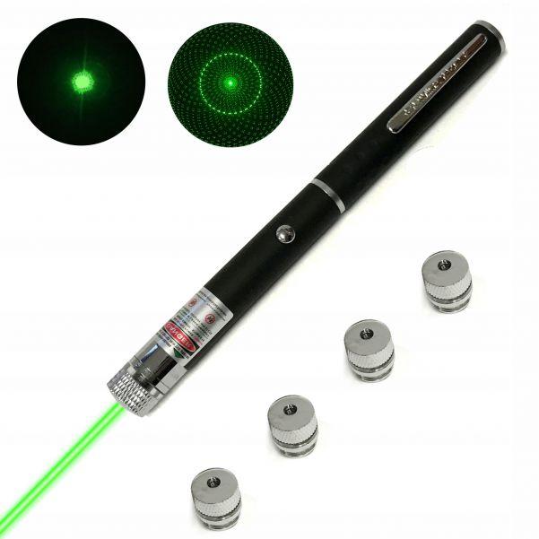 Лазерная указка Зеленый свет, 4 насадки