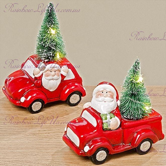"Ночник новогодний Led машина ""Санта с елкой"""