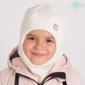 """HOH ШЗ20-06111728 Зимняя шапка-шлем с нашивкой """"Маленькая звездочка"""", молочный"""