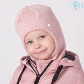"""HOH ШЗ20-06361728 Зимняя шапка-шлем с нашивкой """"Маленькая звездочка"""", пудра"""