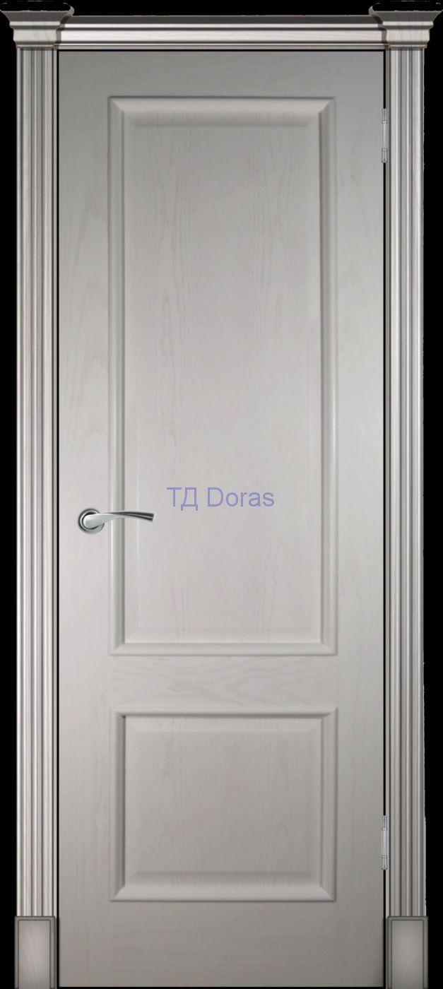 Багетная межкомнатная глухая дверь «Прага» шпон Ясень ваниль