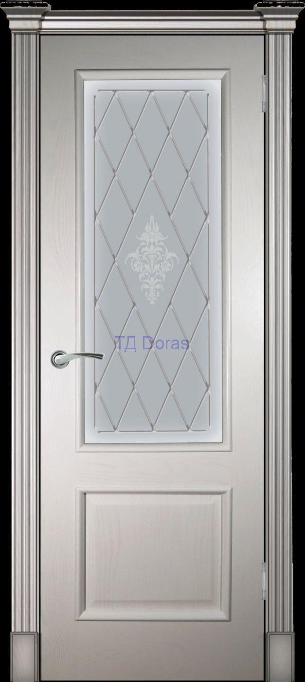 Багетная межкомнатная дверь «Прага» шпон Ясень ваниль, стекло АП-49